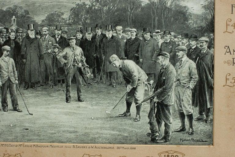 Late 19th Century Antique Golf Print, Duddingston, Life Association of Scotland, Michael Brown For Sale