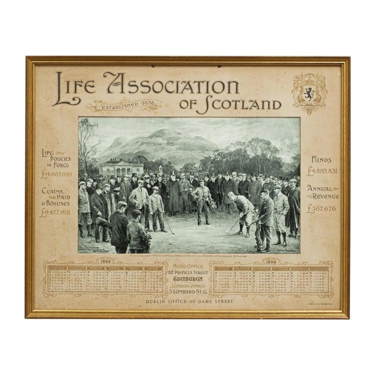 Antique Golf Print, Duddingston, Life Association of Scotland, Michael Brown For Sale
