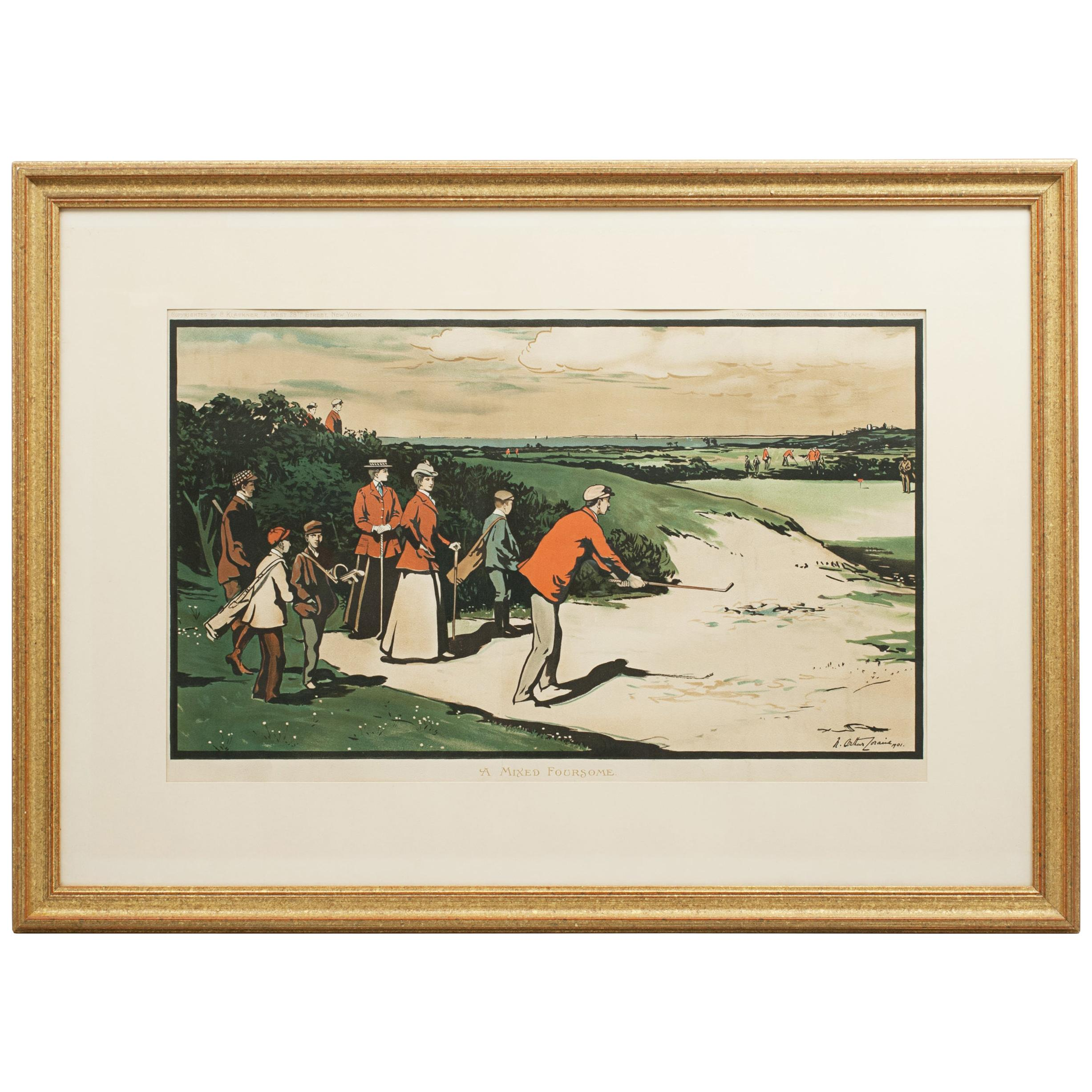 Antique Golf Print, Mixed Foursome after Arthur Loraine