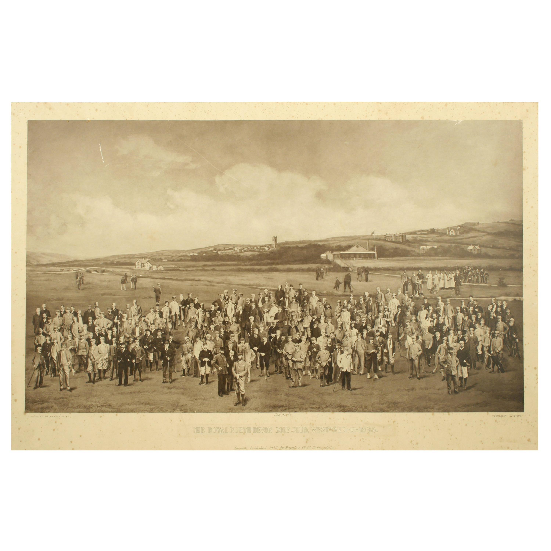 Antique Golf Print, Royal North Devon Golf Club, Photogravure of Westward Ho