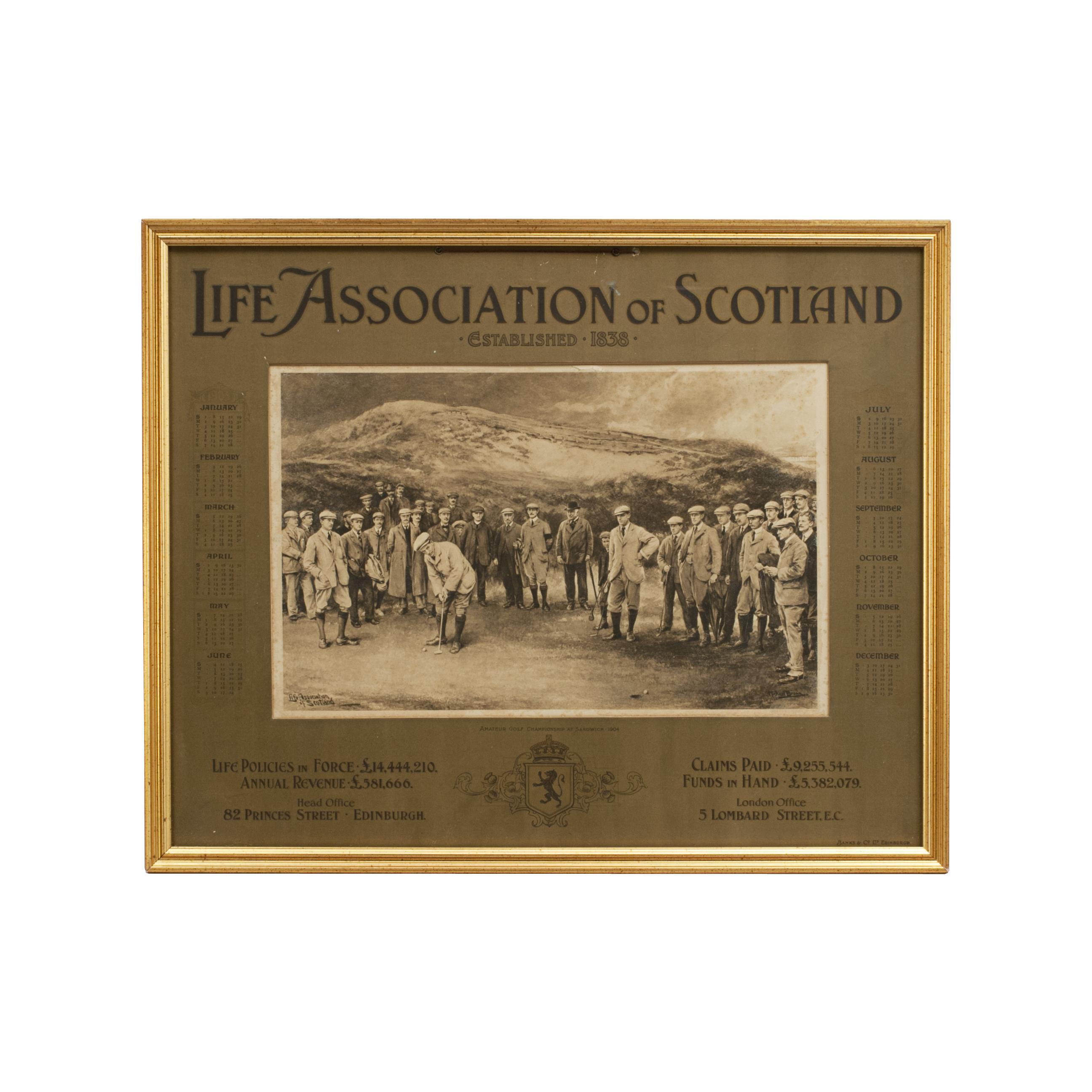 Antique Golf Print, Royal St. Georges, Sandwich, Life Association of Scotland, M
