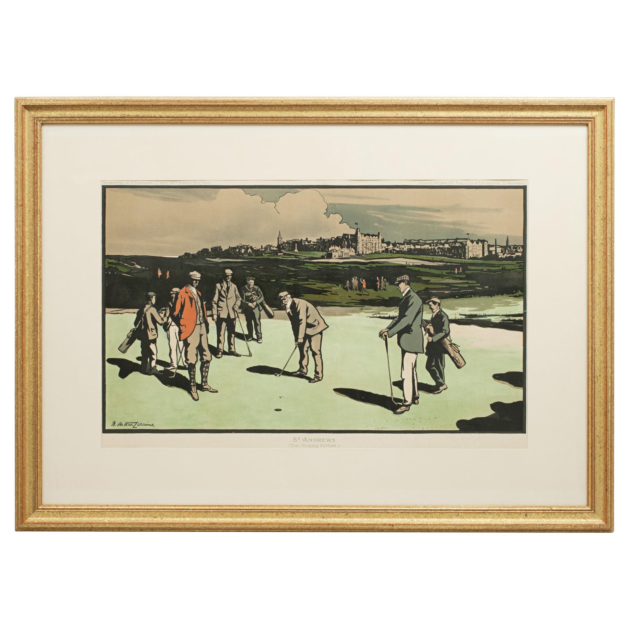 Antique Golf Print, St Andrews after Arthur Loraine