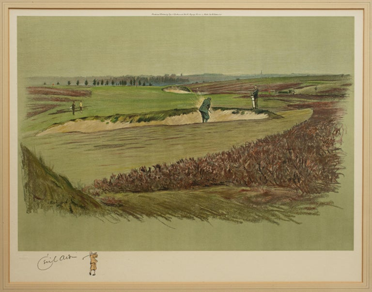 Cecil Aldin golf print, Walton Heath. A mounted and framed golf photolithograph of Walton Heath (the 17th hole, on the 'OLD COURSE'). Signed in pencil by the artist with painted remarque and with hand finishing. Printed and published by Eyre &