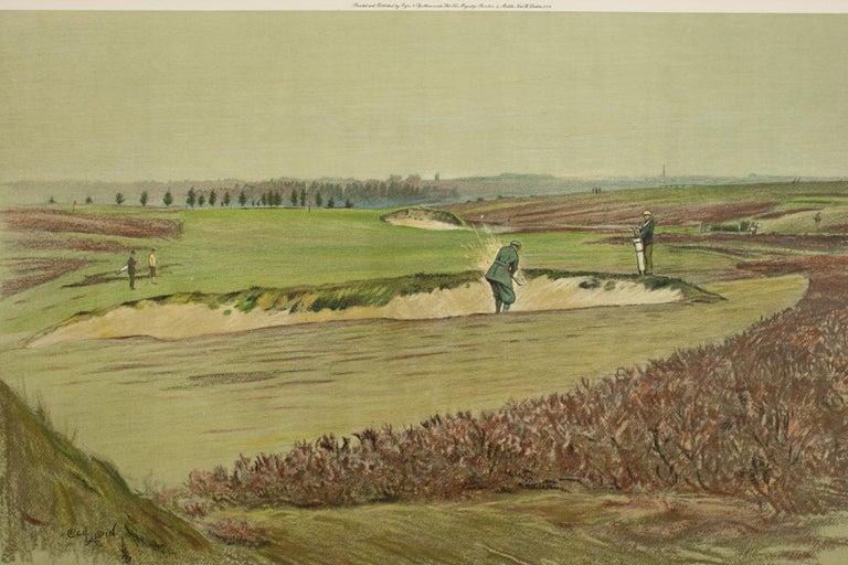 Sporting Art Antique Golf Print, Walton Heath-Old Course, Cecil Aldin For Sale