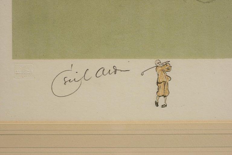 English Antique Golf Print, Walton Heath-Old Course, Cecil Aldin For Sale