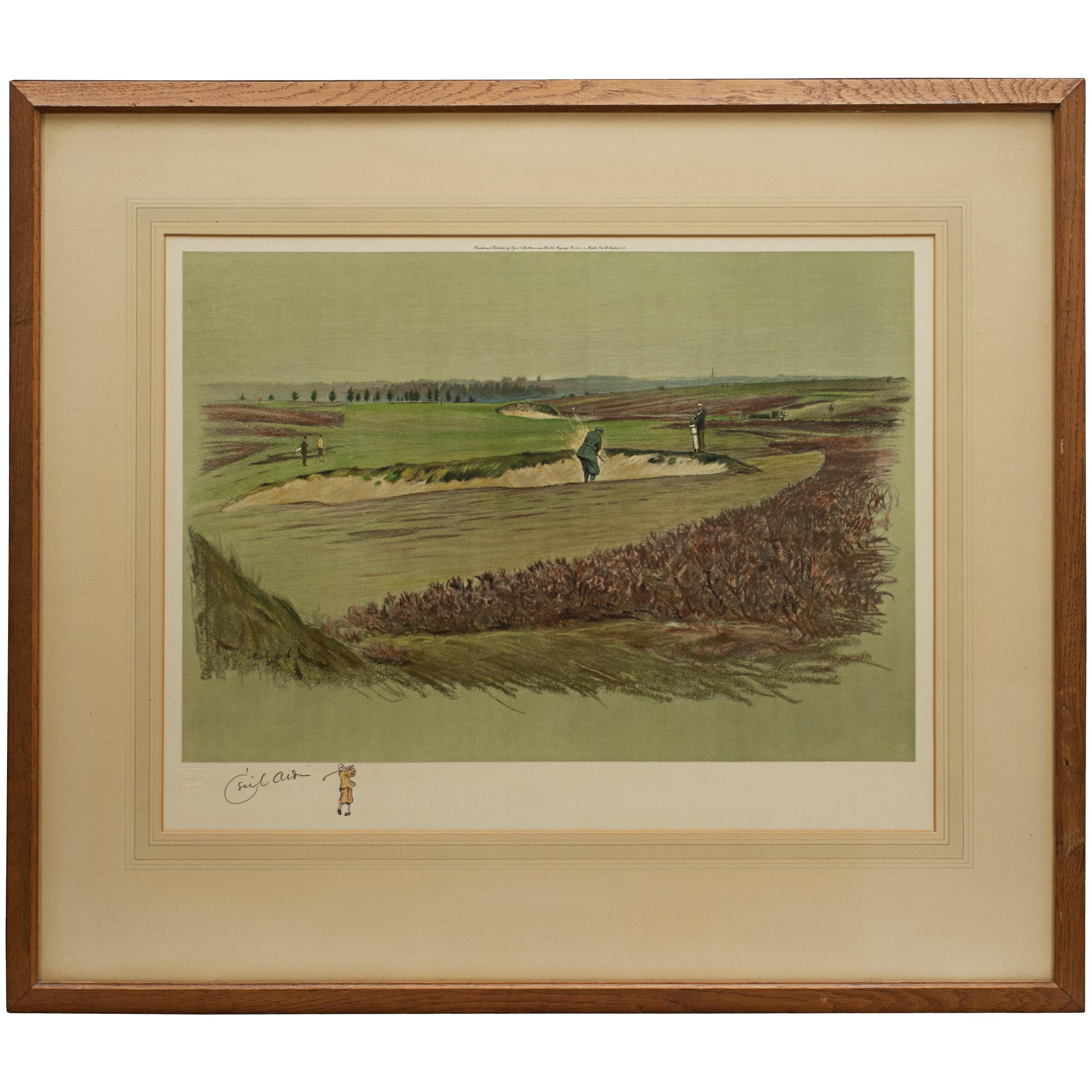 Antique Golf Print, Walton Heath-Old Course, Cecil Aldin
