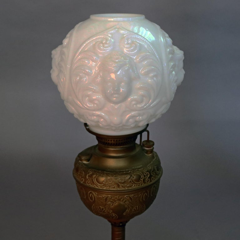 Antique Gone With The Wind Oil Lamp Blown Out Milk Glass
