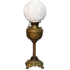 Antique Gone with the Wind Oil Lamp, Blown Out Milk Glass Cherub Shade