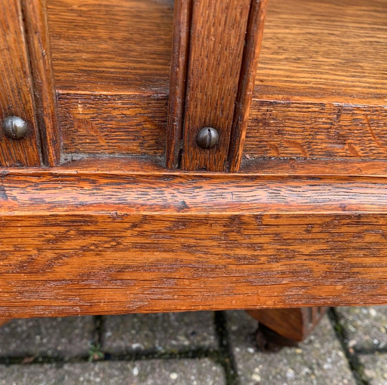 Antique & Good Size Early 1900s Tiger Oak Revolving Bookcase on Original Wheels For Sale 4