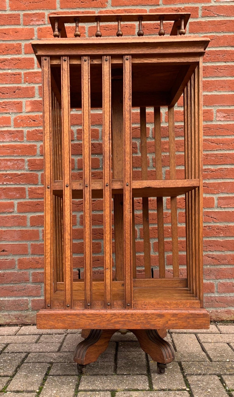 Antique & Good Size Early 1900s Tiger Oak Revolving Bookcase on Original Wheels For Sale 8