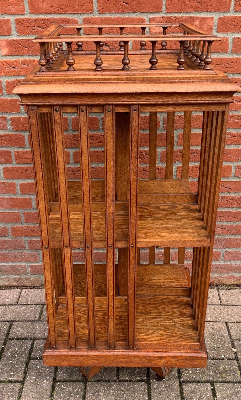 Striking and sizeable oak bookcase with a gallery on top.  Back in the earliest years of the 20th century not many people learned how to read. Even less people had the means to buy their own books. And only very few individuals would be able to own
