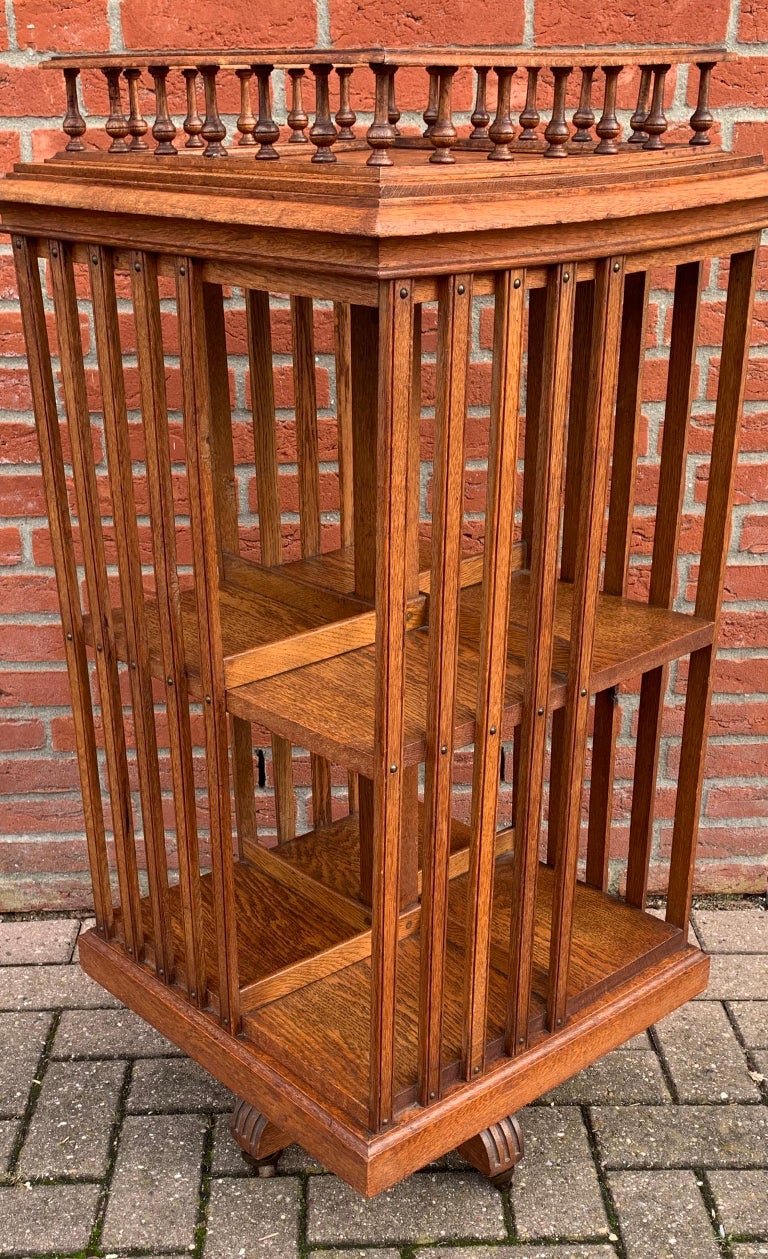 Antique & Good Size Early 1900s Tiger Oak Revolving Bookcase on Original Wheels For Sale 13