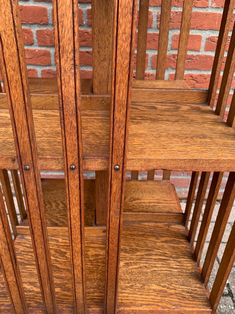 Antique & Good Size Early 1900s Tiger Oak Revolving Bookcase on Original Wheels For Sale 1