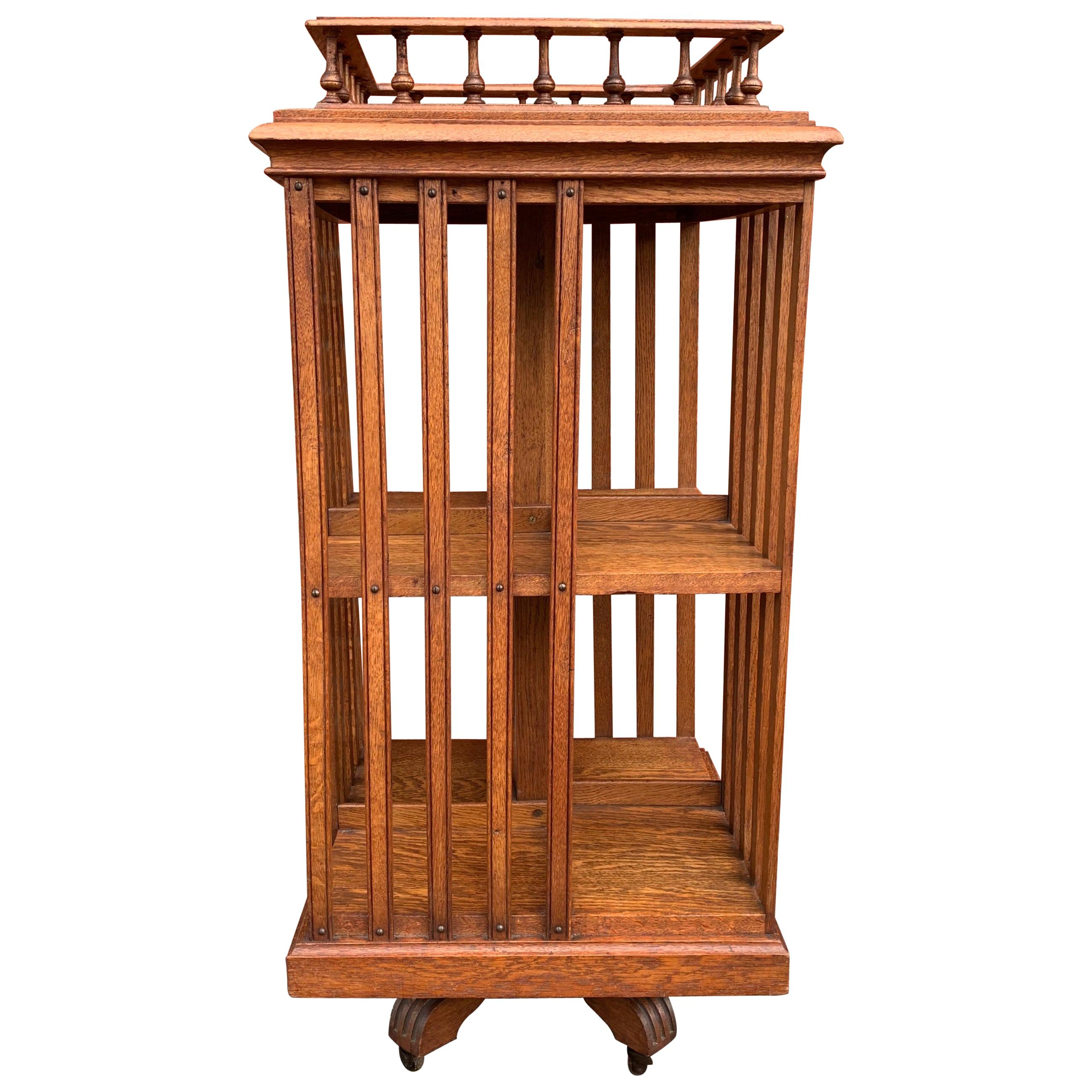 Antique & Good Size Early 1900s Tiger Oak Revolving Bookcase on Original Wheels