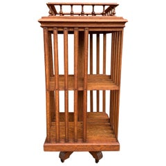Antique & Good Size Early 1900s Tiger Oak Revolving Bookcase on Original Wheels