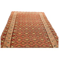 Antique Gordes Traditional Red and Beige Geometric-Floral Wool Rug