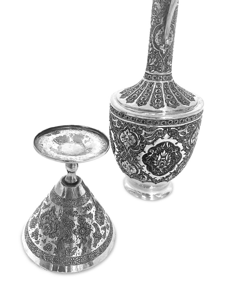 Women's or Men's Antique Gorgeous Handmade Pitcher, Cup and Tray 8-Piece Set Silver For Sale