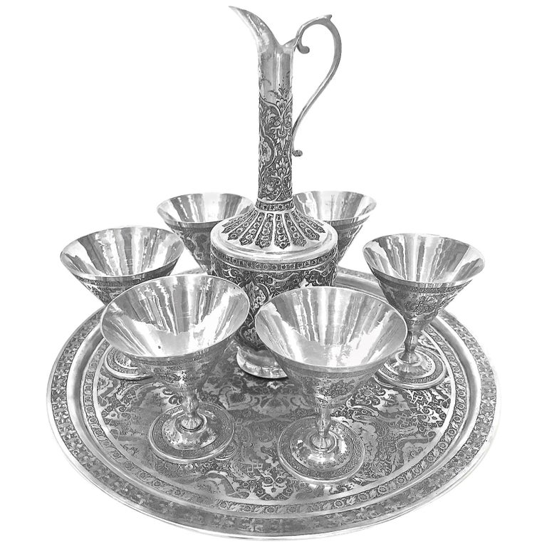 Antique Gorgeous Handmade Pitcher, Cup and Tray 8-Piece Set Silver For Sale