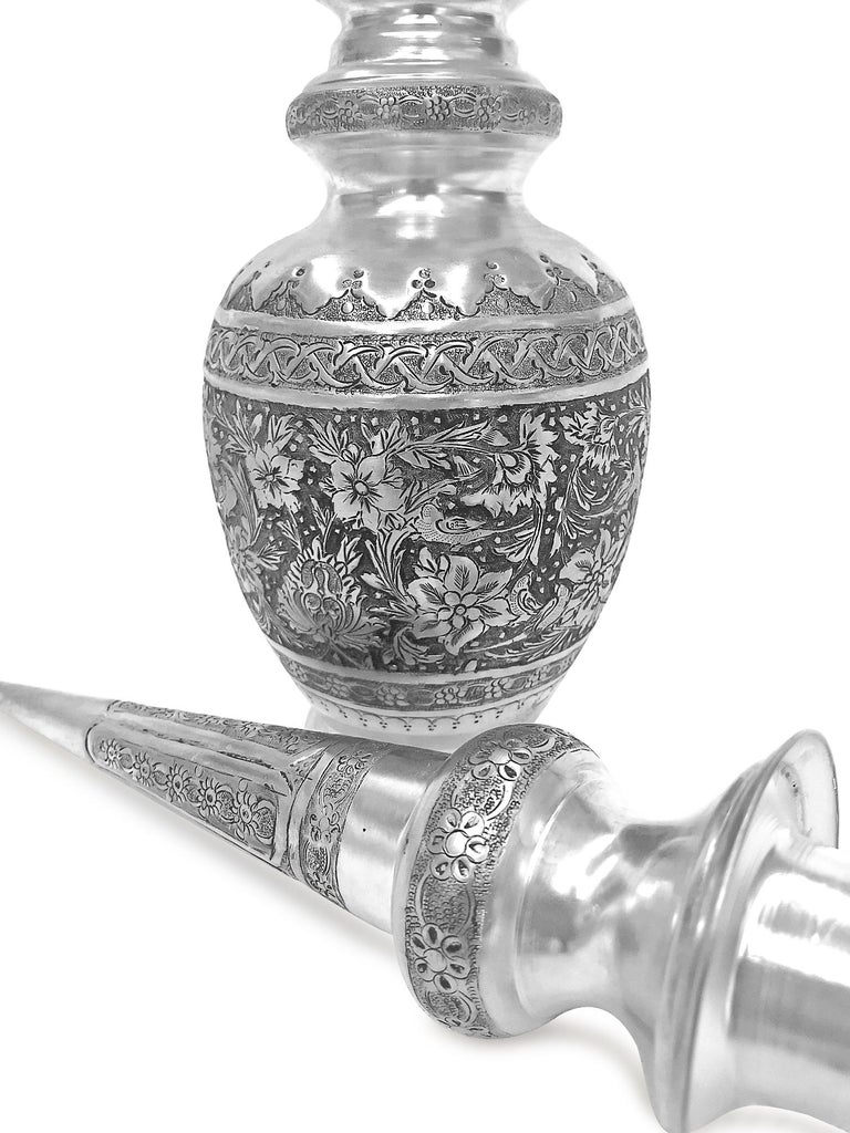 Absolutely beautiful hand made silver wine set. This pair has birds and flowers design. The wine jar set is 0.84 karat silver , could be used for wine or other drinks or just a beautiful decoration piece. The cover of the jar has a sharp and tall