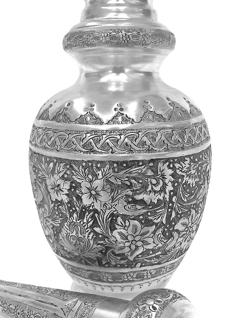 Art Deco Antique Gorgeous Pair of Wine Jar Persian Silver Handmade For Sale