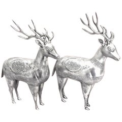 Antique, Gorgeous, Rare Pair of Deer Figurines in Silver, Handmade, Persian