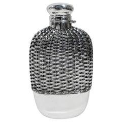 Antique Gorham American Edwardian Woven Sterling Silver Flask