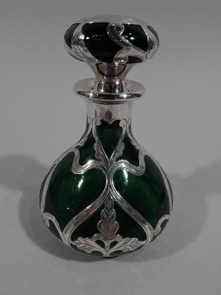 American Antique Gorham Art Nouveau Green Silver Overlay Perfume
