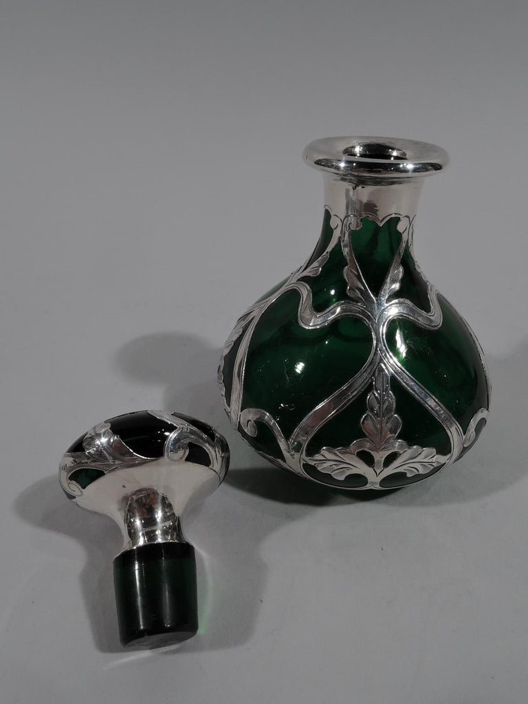 Antique Gorham Art Nouveau Green Silver Overlay Perfume In Excellent Condition In New York, NY