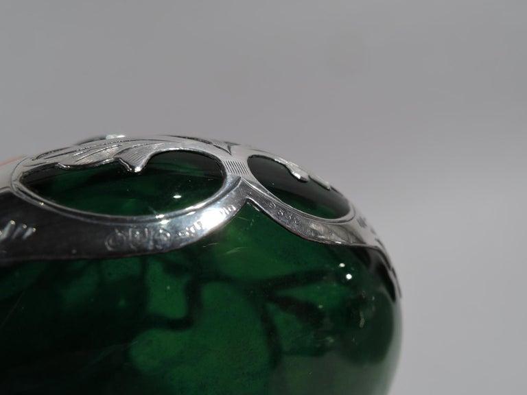 20th Century Antique Gorham Art Nouveau Green Silver Overlay Perfume