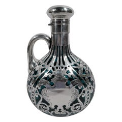Antique Gorham Art Nouveau Silver Overlay Green Jug Decanter