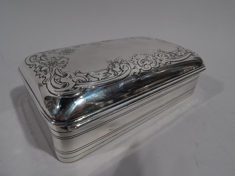 Antique Gorham Edwardian Classical Sterling Silver Jewelry Box In Excellent Condition In New York, NY