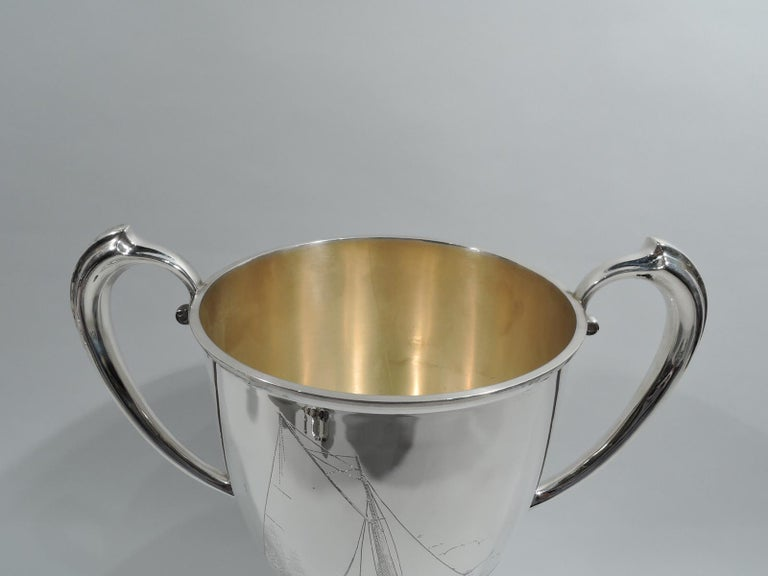 American Antique Gorham Edwardian Sterling Silver & Enamel Yacht Trophy Cup For Sale
