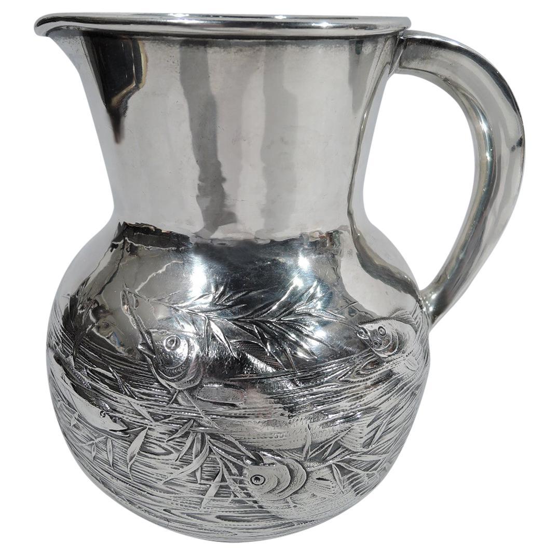 Antique Gorham Japonesque Sterling Silver Fishbowl Water Pitcher