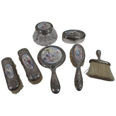 Antique Gorham Sterling Silver and Enamel Classical Goddess Vanity Set