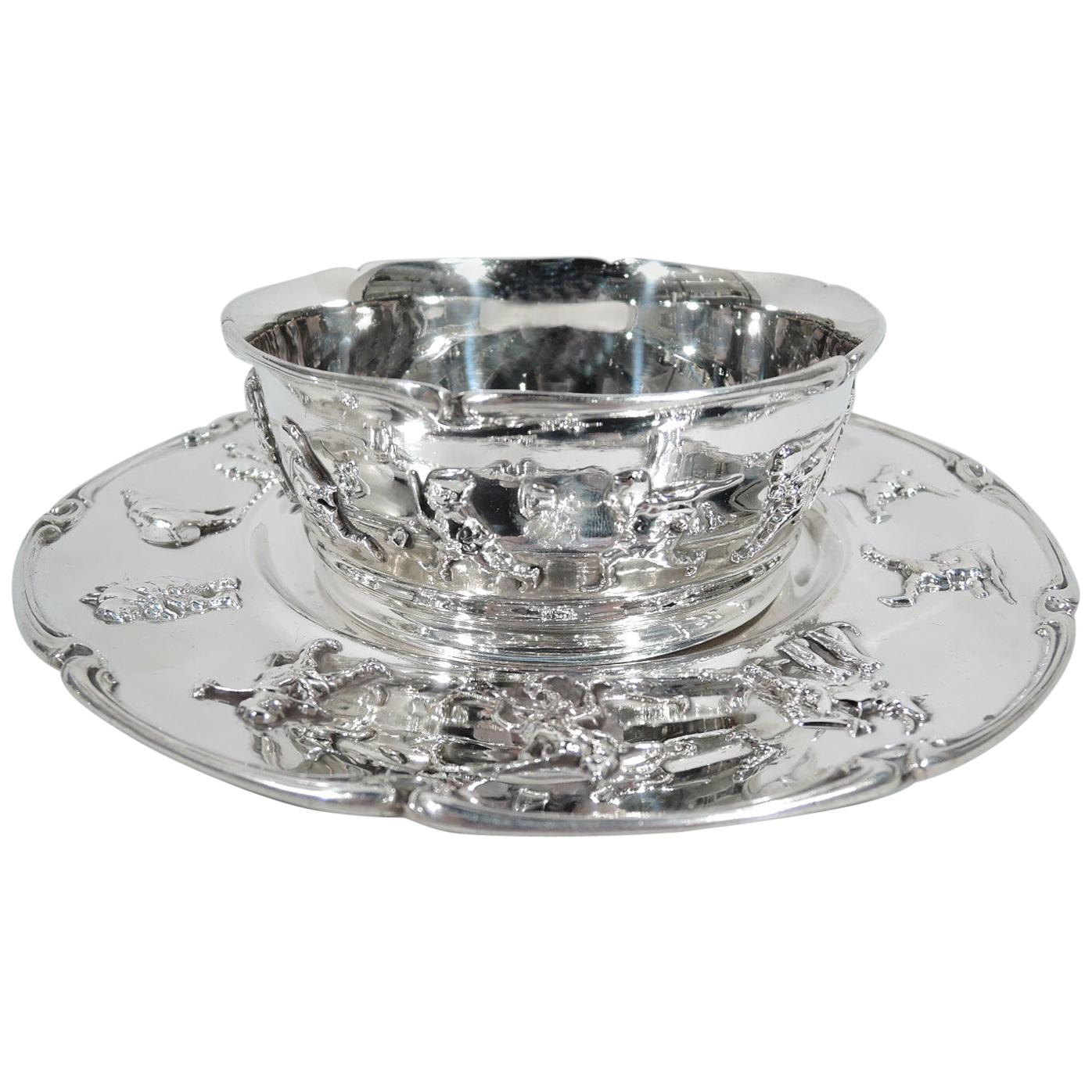 Antique Gorham Sterling Silver Baby Cereal Bowl on Plate