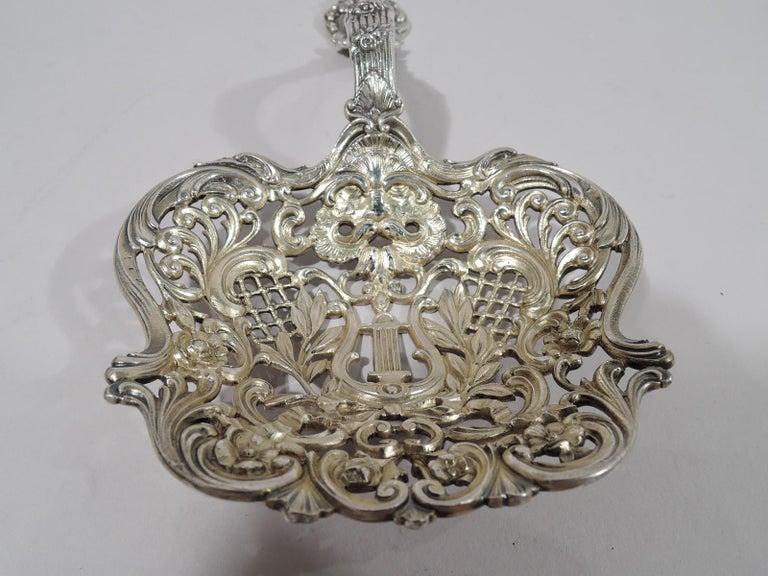 19th Century Antique Gorham Sterling Silver Bonbon Scoop with Art Nouveau Classical Lyre For Sale