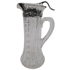 Antique Gorham Sterling Silver and Brilliant-Cut Glass Claret Jug