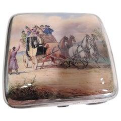 Antique Gorham Sterling Silver & Enamel Stagecoach Cigarette Case