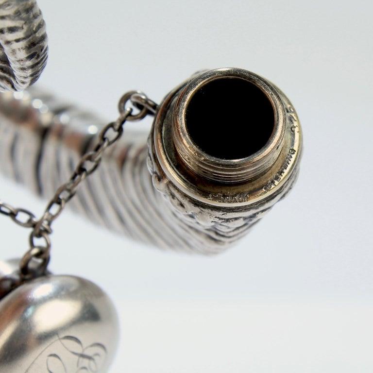 Antique Gorham Sterling Silver Figural Ram's Horn Chatelaine Flask For Sale 5