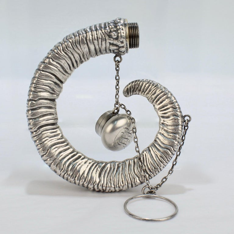Antique Gorham Sterling Silver Figural Ram's Horn Chatelaine Flask In Good Condition For Sale In Philadelphia, PA