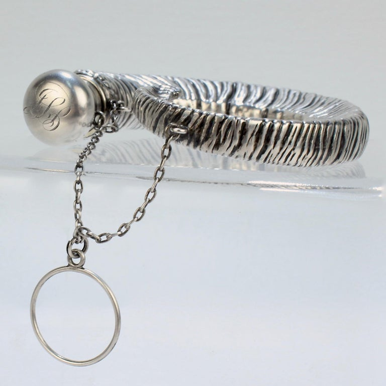 Women's or Men's Antique Gorham Sterling Silver Figural Ram's Horn Chatelaine Flask For Sale