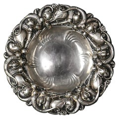 Antique Gorham Sterling Silver Leaf and Vine Repousse Nut Bowl, circa 1890