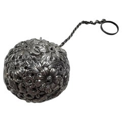 Antique Gorham Victorian Repousse Sterling Silver Tea Ball