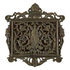 Antique Gothic Bronze Wall or Door Mail Holder