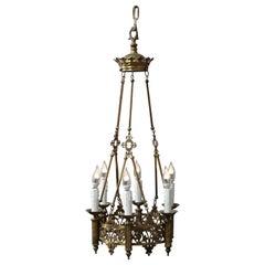 Antique Gothic Cast Bronze Six-Light Hanging Chandelier, Circa 1900