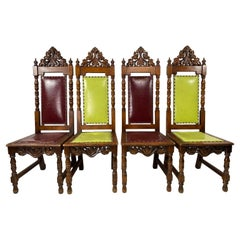 Antique Gothic Dining Chairs, Set of 4