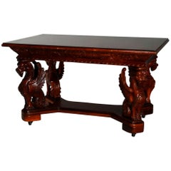 Antique Gothic Figural Griffin Carved Mahogany Library Table, 20th Century