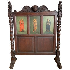 Antique Gothic Fire Screen w. Handpainted Earth Angle, Saints and Carved Knights