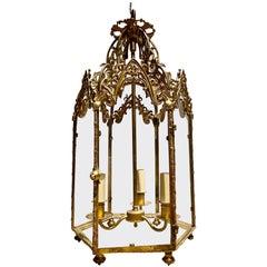 Antique Gothic Gilt Bronze Hall Lantern