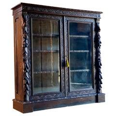 Antique Gothic Green Man Oak Bookcase Victorian Glazed circa 1870 3